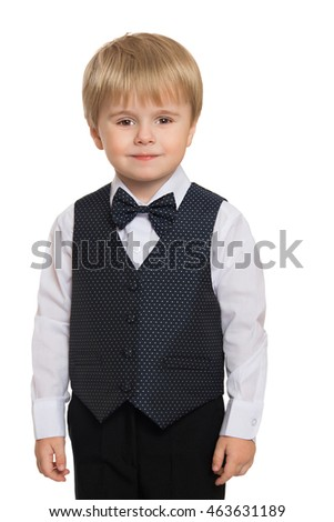 Cute little blonde boy in suit with bow tie - Isolated on white background