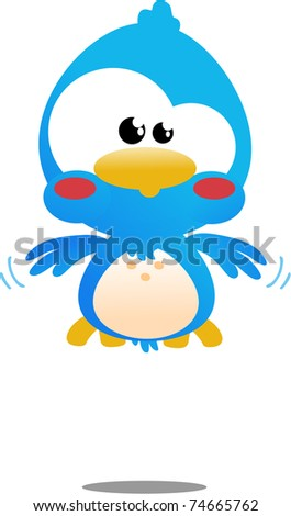 Cute little blue toon bird icon