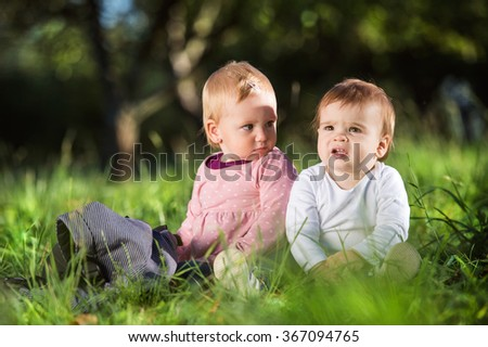 Cute little boy and girl