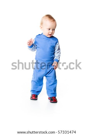 Cute little boy close-up on white background - stock photo