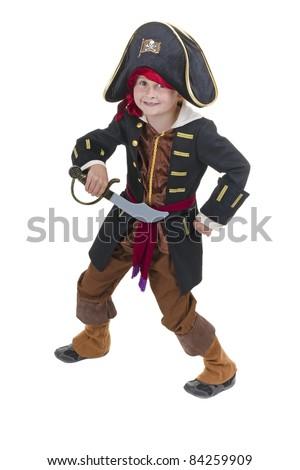 cute little boy dresses in pirate costume - stock photo