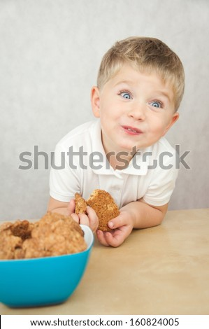 Cute little boy eating cookies - stock photo