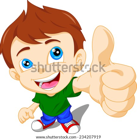 cute little boy giving you thumbs up - stock photo
