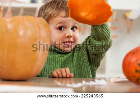 Cute little boy having fun for Halloween - stock photo