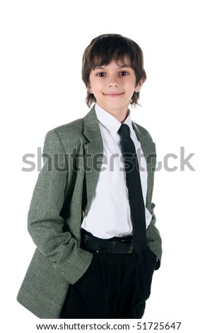 Cute little boy in bussiness style on white background - stock photo