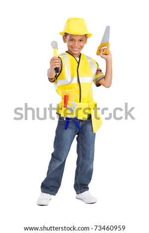 cute little boy in construction uniform and holding tools - stock photo