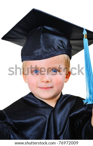 Cute little boy in graduation cap