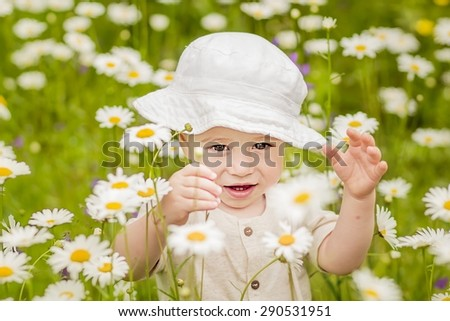Cute little boy in panama hat sitting on the lawn with camomiles - stock photo