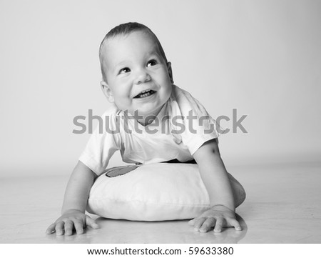 Cute little boy isolated. black-and-white