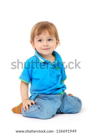 cute little boy, isolated on white - stock photo