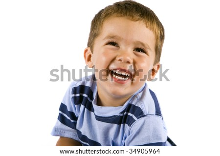 Cute little boy isolated on white - stock photo
