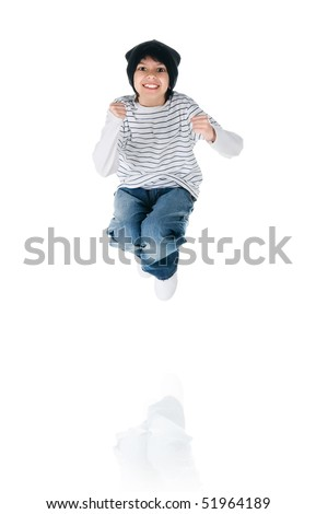 Cute little boy jump on white background - stock photo