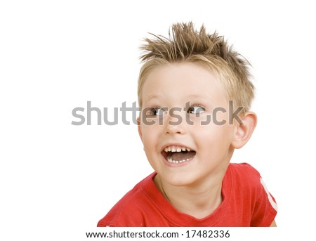 cute little boy laughing - stock photo