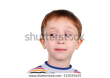cute little boy looking to the left - stock photo