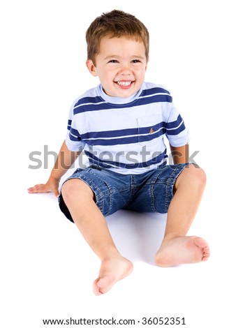 Cute little boy on a white background