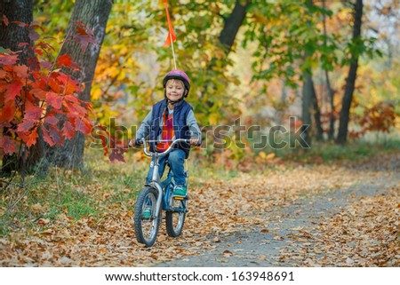 Cute little boy on bicycle in the autumn park.