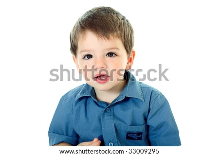 cute little boy on white background