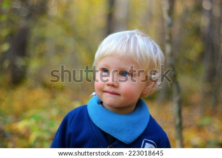 Cute little boy, outdoors, autumn - stock photo