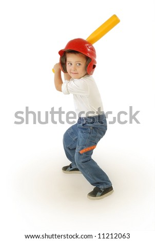 Cute little boy playing baseball, laughing and having fun - stock photo