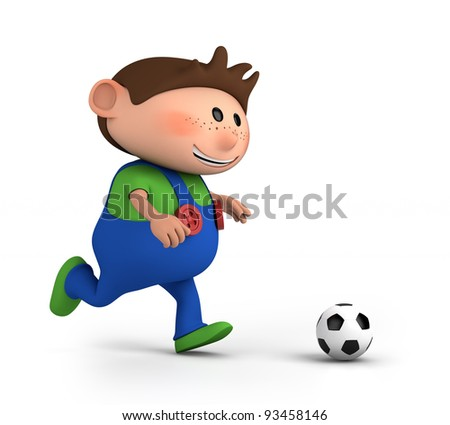 cute little boy playing soccer - high quality 3d illustration - stock photo