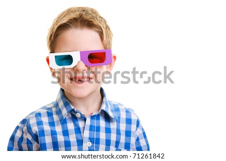 Cute little boy wearing 3D glasses isolated over white