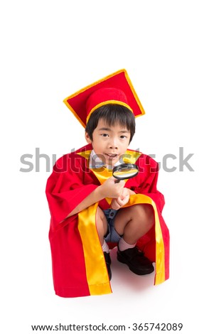 Cute Little Boy Wearing Red Gown Kid Graduation With Mortarboard Isolated On White Background
