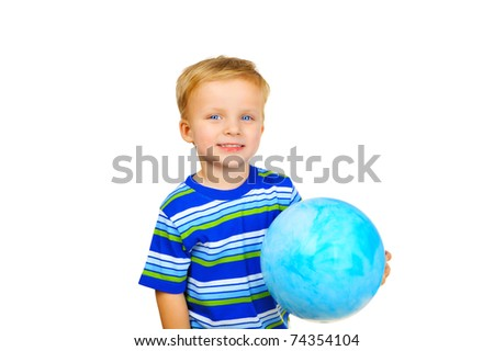 Cute little boy with a ball - stock photo