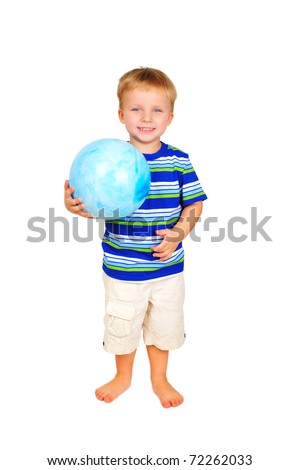 Cute little boy with blue ball - stock photo