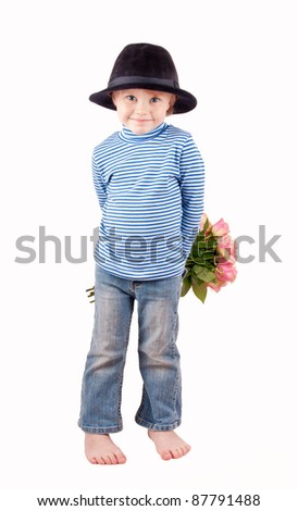 cute little boy with bunch of roses on white - stock photo