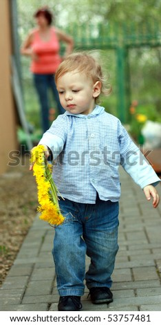 cute little boy with circlet of flowers