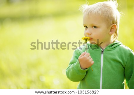 cute little boy with dandelion - stock photo