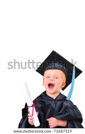 Cute little boy  with diploma - stock photo