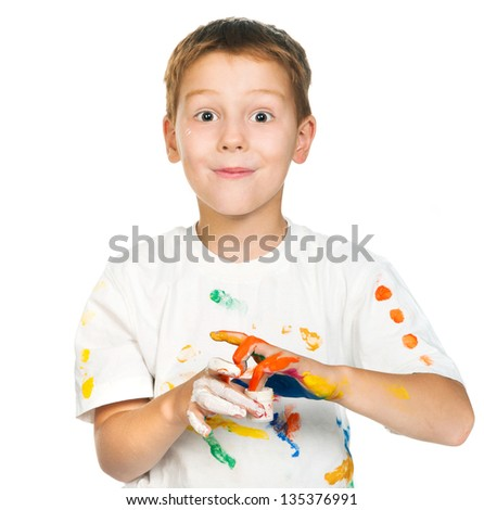 cute little boy with paints isolated on white background - stock photo