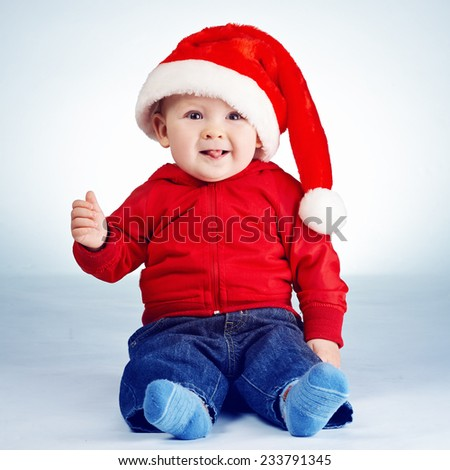 cute little boy with santa hat portrait