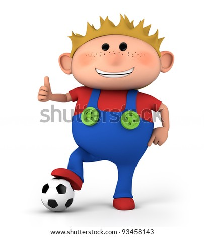 cute little boy with soccer ball giving thumbs up - high quality 3d illustration - stock photo