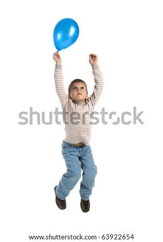 Cute little boy with the balloon jump on white background