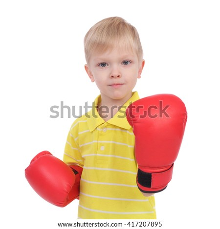 cute little boy with the box gloves