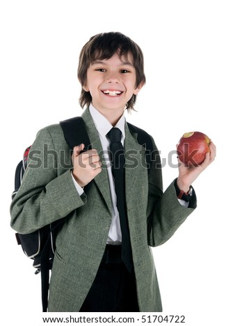 Cute little boy with the red apple on white background - stock photo