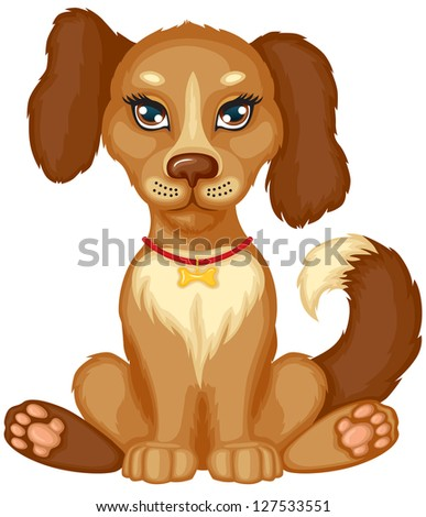 Cute little brown spotted dog - stock photo