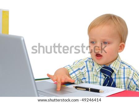 Cute little businessman surprised - stock photo