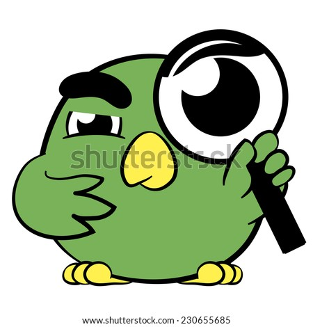 Cute little cartoon bird with a magnifying glass held to its eye looking at the viewer in a concept of searching, investigation, detective, clue, analysis and research, illustration on white - stock photo