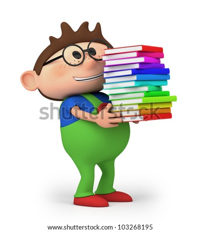 cute little cartoon boy carrying books  - high quality 3d illustration - stock photo