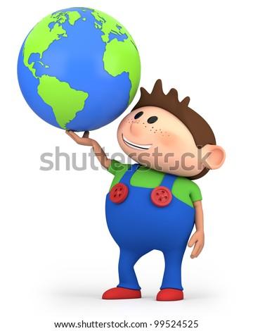 cute little cartoon boy holding a globe - high quality 3d illustration - stock photo