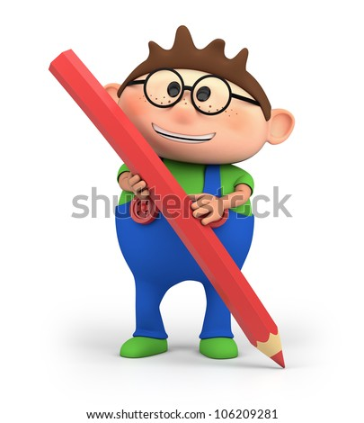 cute little cartoon boy holding a red pencil - high quality 3d illustration - stock photo