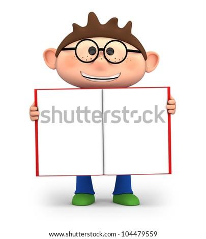 cute little cartoon boy holding an open book - high quality 3d illustration - stock photo