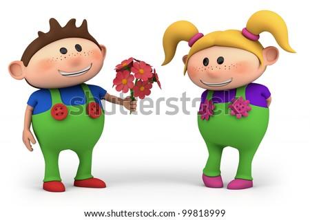 cute little cartoon boy offering girl flowers - high quality 3d illustration - stock photo