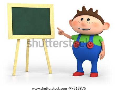 cute little cartoon boy with blackboard - high quality 3d illustration - stock photo