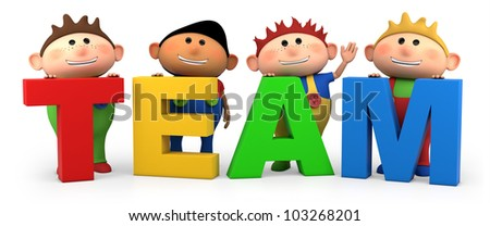 cute little cartoon boys with TEAM letters - high quality 3d illustration - stock photo