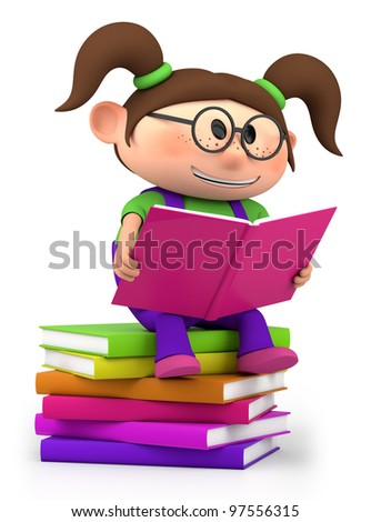 cute little cartoon girl sitting on books reading - high quality 3d illustration - stock photo