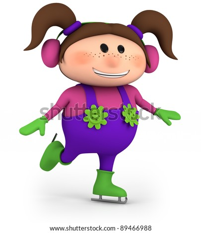 cute little cartoon girl skating - high quality 3d illustration - stock photo